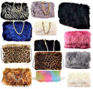 Ladies-Designer-Fluffy-Feather-Clutch-Faux-Fur-Bag-Purse-golden-Chain-Runway-New