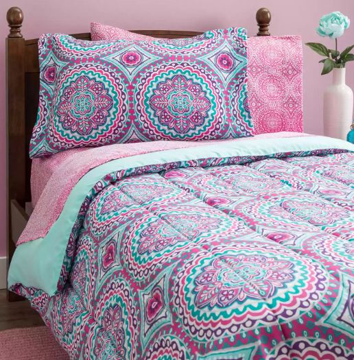Full Size Comforter Set Bedding Teens Girls Kids Bedspread Pink Mint Green  Sheet