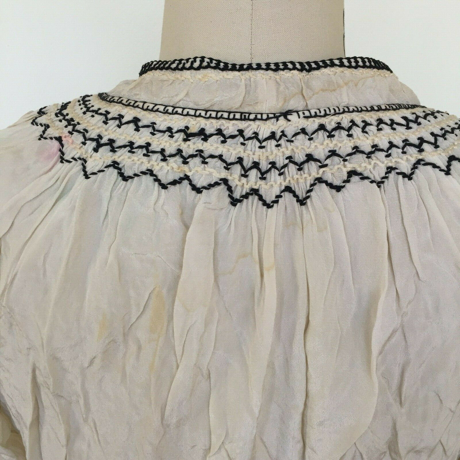 Vtg Hungarian Blouse S-M Embroidered Hand Made Fl… - image 6
