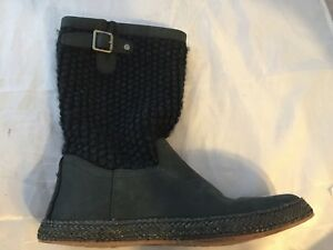 ad6cd663ae7 Details about New UGG Australia Lyza Shearling Lined Boot, Black Woven,  Women Size 5, $140
