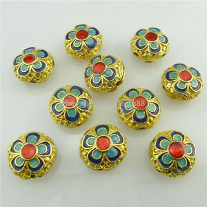 18537 2pcs Exquisite Gold Enamel Blue Flower Cloisonne 14mm Loose Spacer Beads