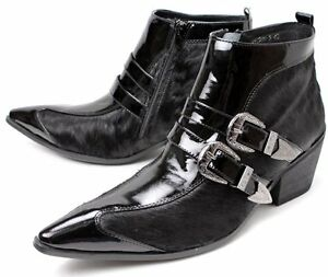mens dress cuban heel black ankle boots leather pointy toe