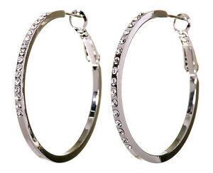 Swarovski-Elements-Crystal-1-1-2-034-Fine-Hoop-Earrings-Rhodium-Authentic-New-7217v