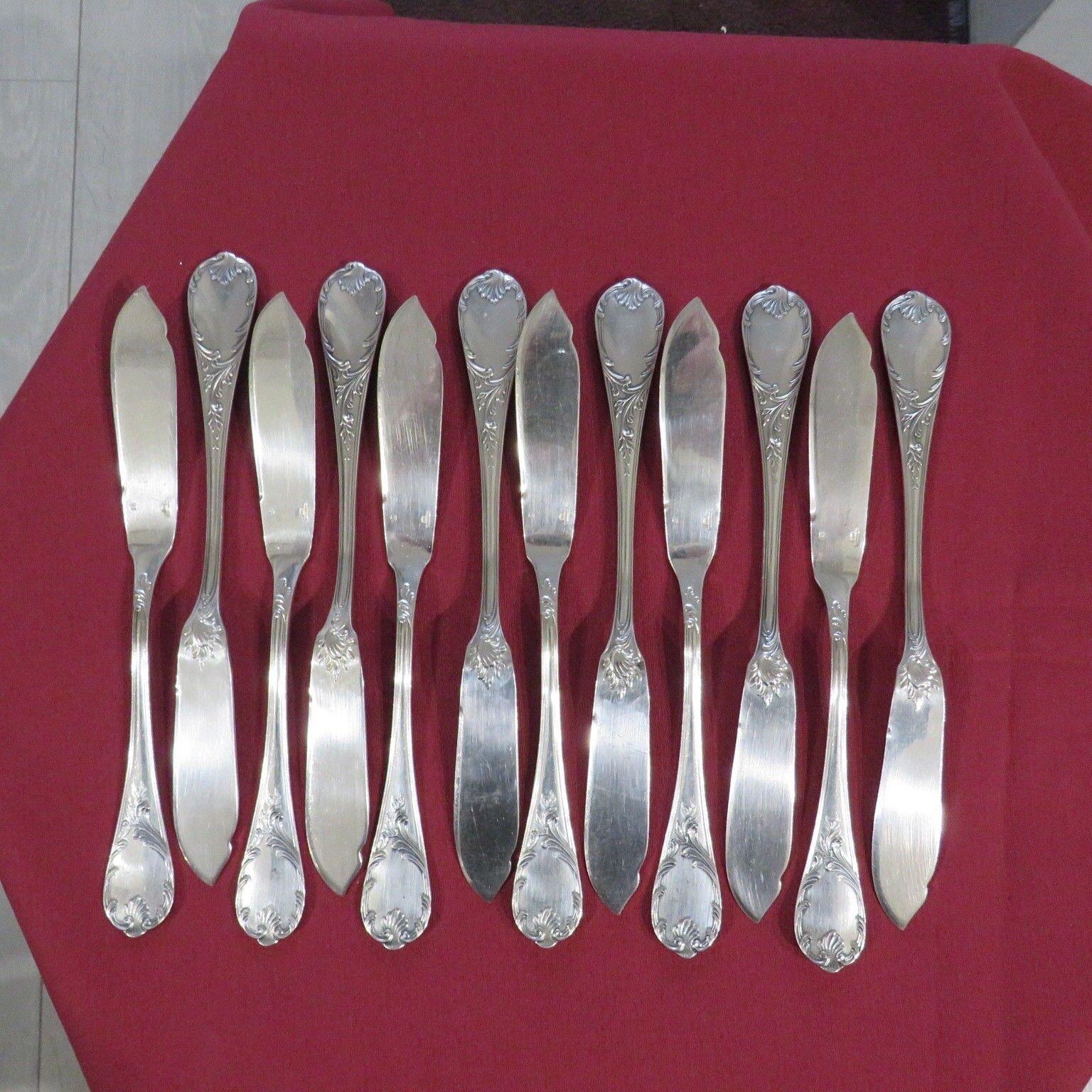 CHRISTOFLE    12 couteaux à poisson en métal argenté modèle marly 3