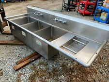 3 Compartment 83 Stainless Steel Heavy Duty Commercial Kitchen Sink Nsf No Legs