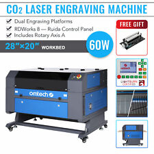 Omtech Co2 Laser Engraver 60w 28x20 Cutting Engraving Machine With Rotary Axis