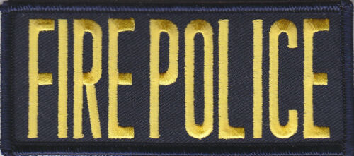 """4 by 2 FIRE POLICE 2/"""" X 4.25/"""" Front Panel Patch GOLD on MIDNIGHT NAVY BLUE"""