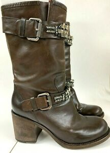 VERA WANG LAVENDER Brown Leather Moto Boots with Jewel Detail Size 8.5