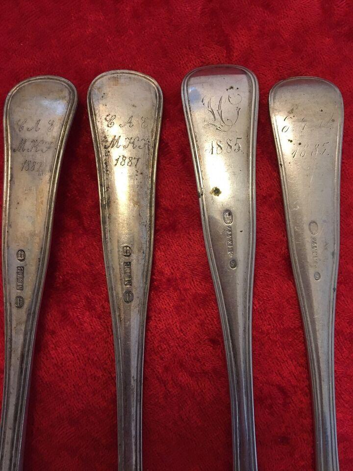 Tip oldefars bestik sølv mm, 1885-1887/P.Hertz og M&T.B