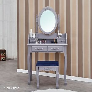 Details About Grey Dressing Table Vanity With 4 Drawers 1 Mirror Set And Stool Makeup Desk