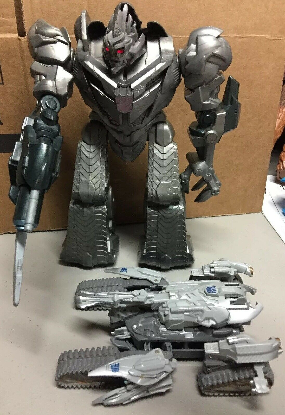 Transformers redF Megatron Electronic Lot Of 2 Talking W Lights 10.5 +Tank WORK