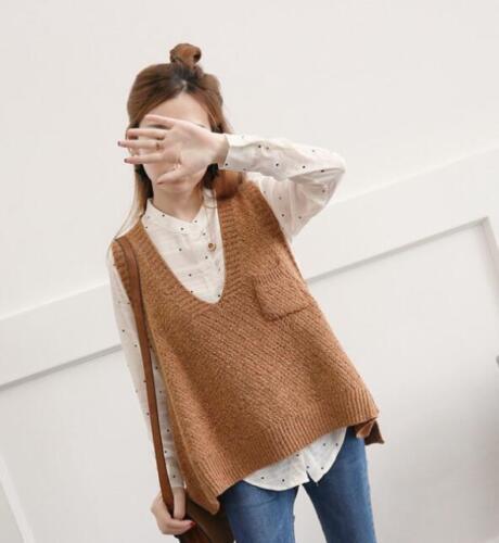 Knitting Women Vest Camel Solid Korean Short Pullover Vogue Pocket Loose V Neck