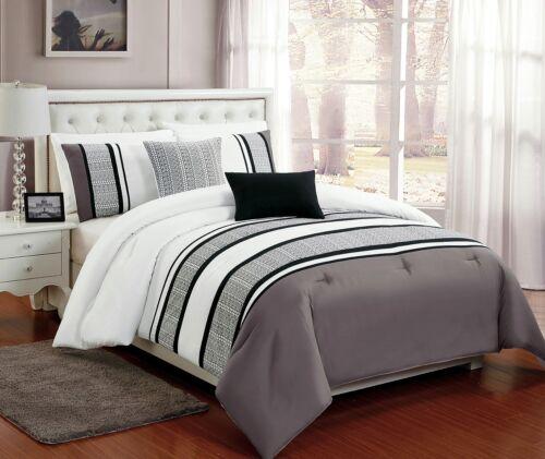 5 PC Grey White /& Black Comforter Set w// Burnout Lace Design Full Queen King