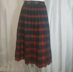 Vintage-Hand-made-Red-and-Green-Pleated-Plaid-Wool-Skirt