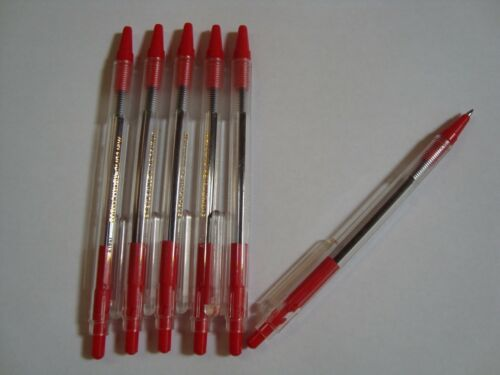 15 Red Ball Point Pens Click Style