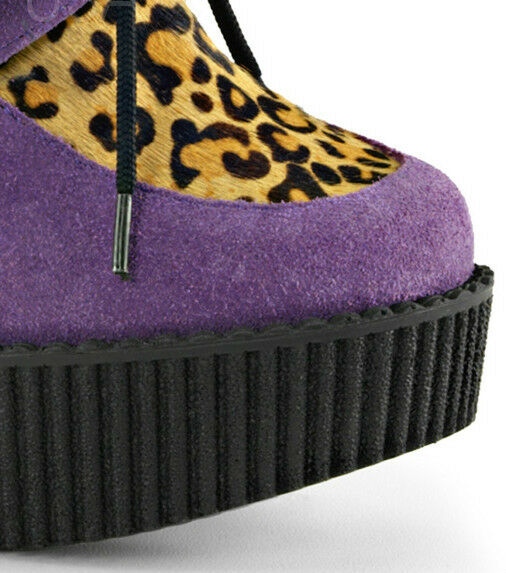 Demonia Creeper-304 Purple Purple Purple Vegan Suede-Leopard Printed Pony Hair Wedge 00c243