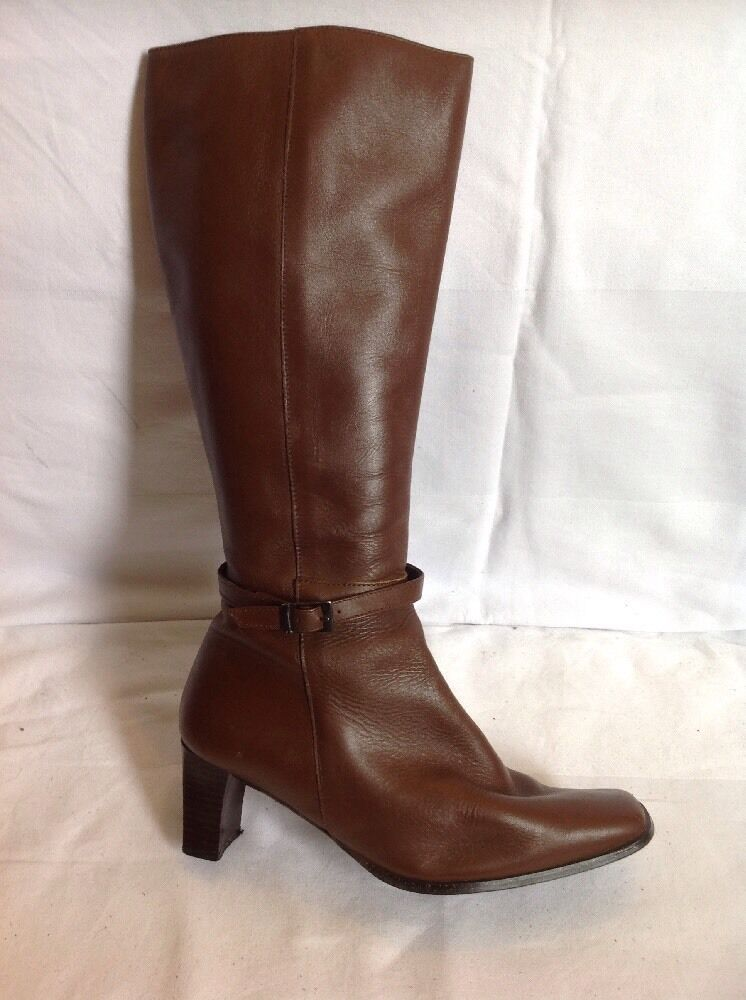 La Bouhque Brown Knee High Leather Boots Size 38