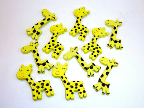10 Holzknöpfe Kinderknöpfe Gelbe Giraffen