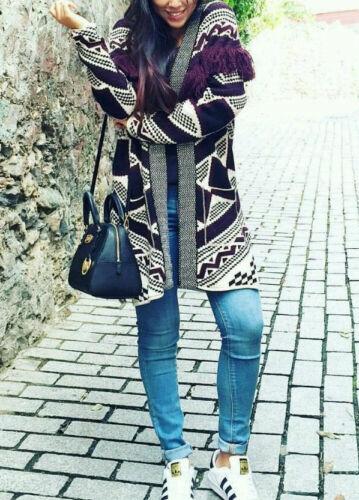 Taglia Poncho Ethno Jacket Kimono S Cardigan Fringe M Jacke Jacquard Zara Fransen xX6wzx