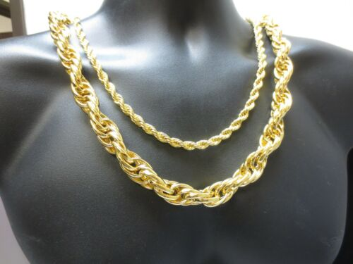 """14KT GOLD PLATED HIP HOP 7MM TO 16MM ROPE CHAIN  BLING NECKLACE 24/""""-36/"""""""