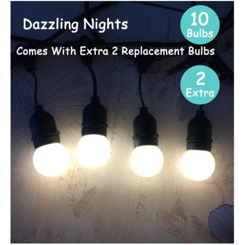 11M Black Heavy-Duty Festoon Globe String Light Shatterproof LED Bulb Outdoor UK