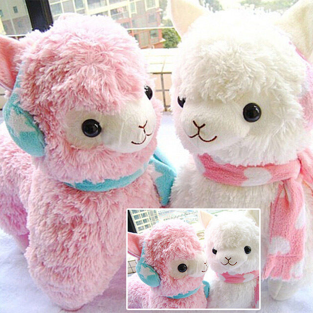 "Adorable 14"" Alpaca Vicugna Arpakasso Alpacasso Earmuff Scarf Plush Doll Toy"