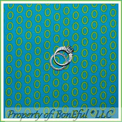 BonEful Fabric FQ Cotton Quilt VTG Aqua Blue Green Circle Ring Dot Hippie Stripe
