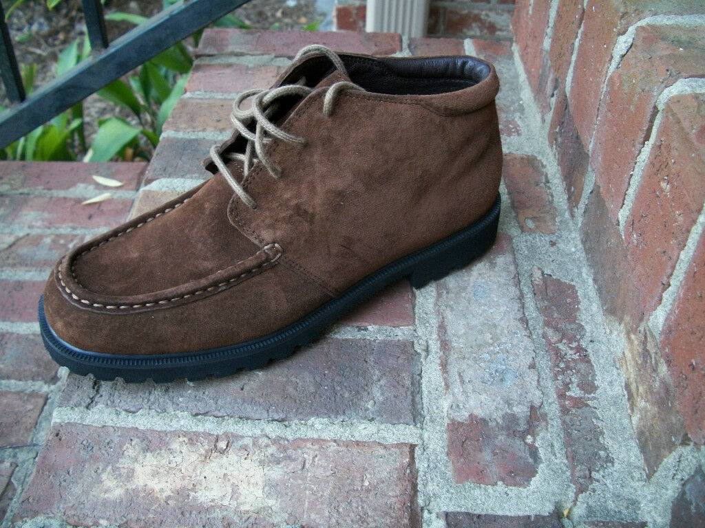 LL BEAN BROWN SUEDE BENDABLE LEATHER LACE UP LOW CHUKKA ANKLE FASHION BOOTS 10