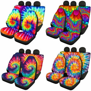 Tie Dye Design Car Seat Covers Front & Rear Full Set for Women Auto Interior