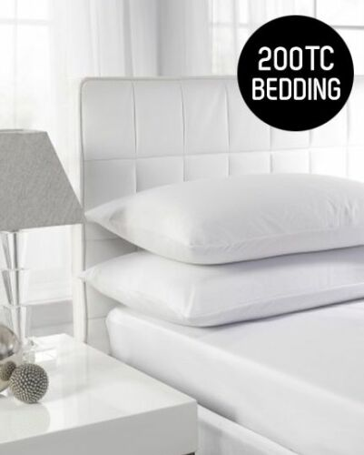 """Fitted Sheets 12/"""" Corner PERCALE Quality 200TC 100/% Cotton 4 Sizes White only"""