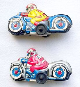 Modern Toys Japan BLUE + Silver RACING MOTORCYCLE 9cm! Tin Friction Toy Nice`68!
