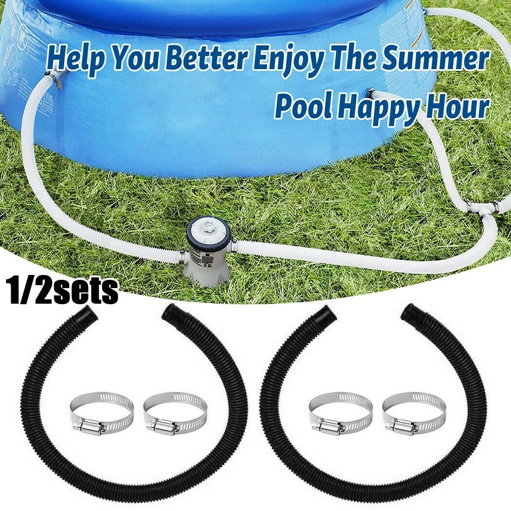Black Hose & Clips Kit For Intex Hose Pipe Pool Professional Replacement Durable