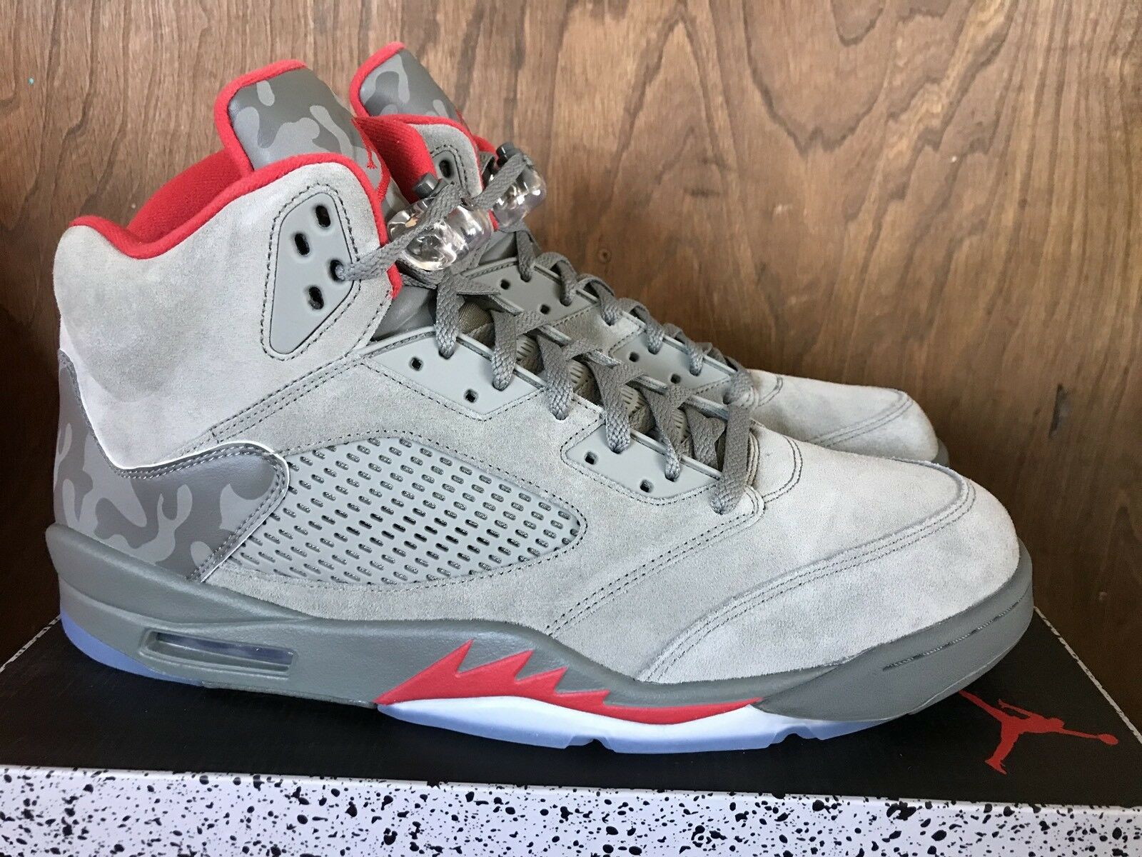 d8fe31edc976 Nike Air Jordan 5 Retro 136027 136027 136027 051 Grey Red Camo Size 18 NIB  FREE