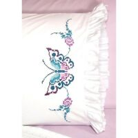Fairway Stamped Cross Stitch Kit Pillowcases 20 X 30 Butterfly 82638 Sale