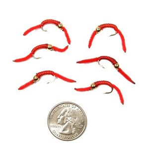 San-Juan-Worm-POWER-BEAD-truite-Nymphe-Fly-Rouge-V-Rib-Bead-Head-6-Mouches-Taille-10