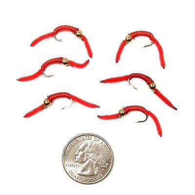 San Juan Worm Power Bead Trout Nymph Fly Red V-Rib Bead Head 6 Flies Size 10