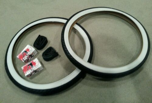 2 DURO 26X2.125 BEACH CRUISER BICYCLE TIRES STREET SLICKS TREAD WHITEWALL /&TUBES
