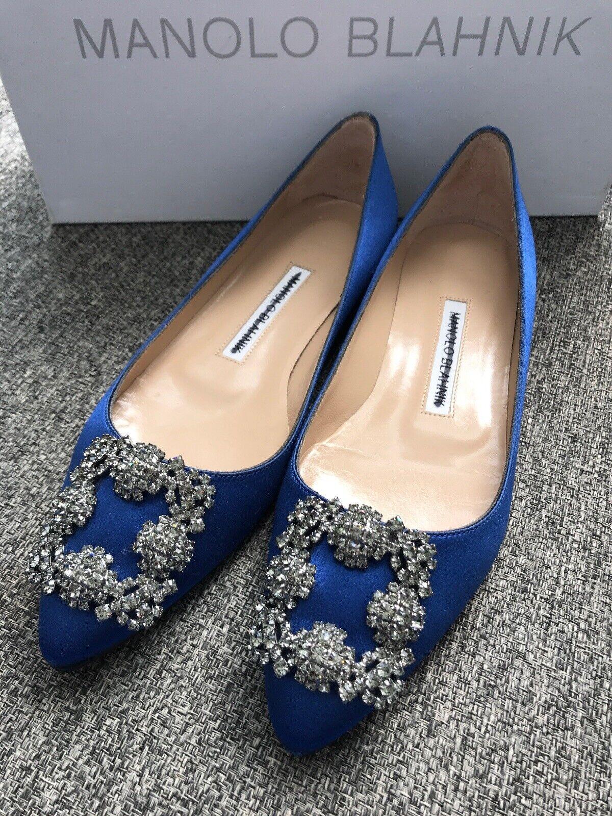Manolo Blahnik hangisi tacones piedras preciosas, raso azul, Ballet americano 5,5 - 35,5