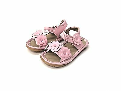 NEW WHITE LEATHER W//PINK FLOWER SQUEAKER SNEAKERS SANDALS SZ 7