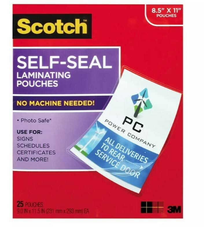 2.5 Inches x 3.5 Inches Gloss Finish 1 Scotch Self-Sealing Laminating Pouches 5 Pouches