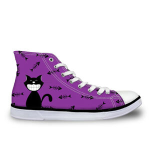 Lovely-Cat-Fashion-Women-039-s-Canvas-Shoes-High-Top-Casual-Sneakers-Lady-Shoes
