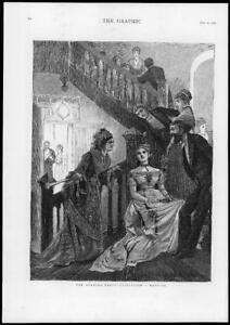 1876 FINE ART Antique Print - Evening Party Flirtation Dancing Staircase  (117)
