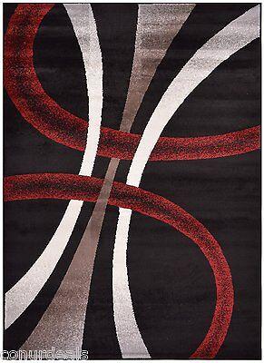 Red Black White Cappuccino Stripes Geometric Area Rug Rugs