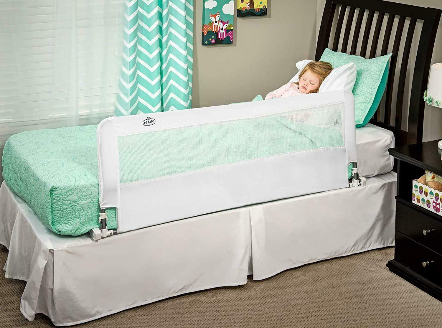 Regalo Hide Away 54 Inch Extra Long Bed Rail Crib Toddler