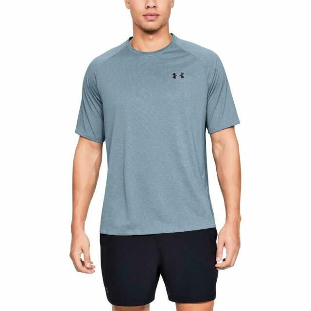Mens Under Armour athletic XL shirt top short sleeve blue stripe heat gear NEW
