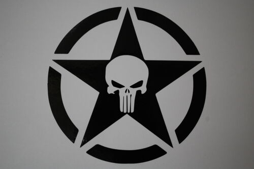 Punisher Jeep Star Military Vinyl Sticker Decal V230 US Army Choose Color/&Size