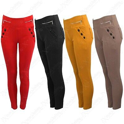 Hilfreich New Women Stretch Button Zip Smart Look Trousers Pocket Jeggings Ladies Leggings