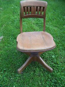 Superb Details About Antique Solid Wood Swivel Bankers Office Desk Chair Lamtechconsult Wood Chair Design Ideas Lamtechconsultcom