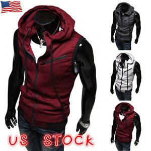 Men-Sports-Gym-Plain-Tank-Top-Hoodie-Fitness-Pullover-Sleeveless-Sweatshirt-Vest