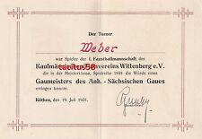 Urkunde 1931 Kaufmännischen Turnvereins Wittenberg eV Faustball Köthen Dokument